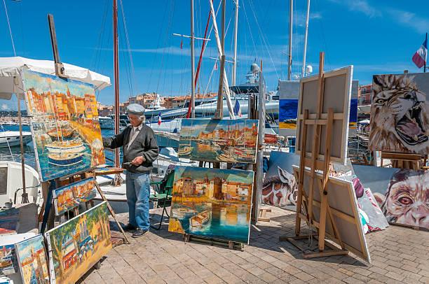 St Tropez Street Artist stock photo