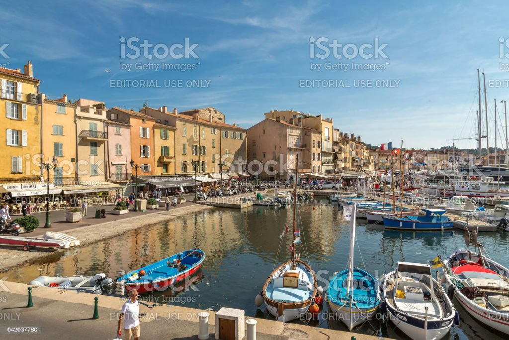 St. Tropez streets and lamndmarks stock photo