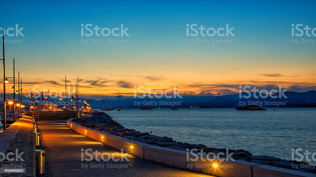 St. Tropez sunset stock photo