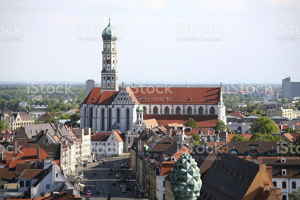 St. Ulrich's Abbey in Augsburg stock photo