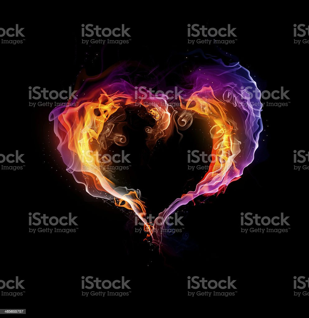 St. Valentine burning heart stock photo