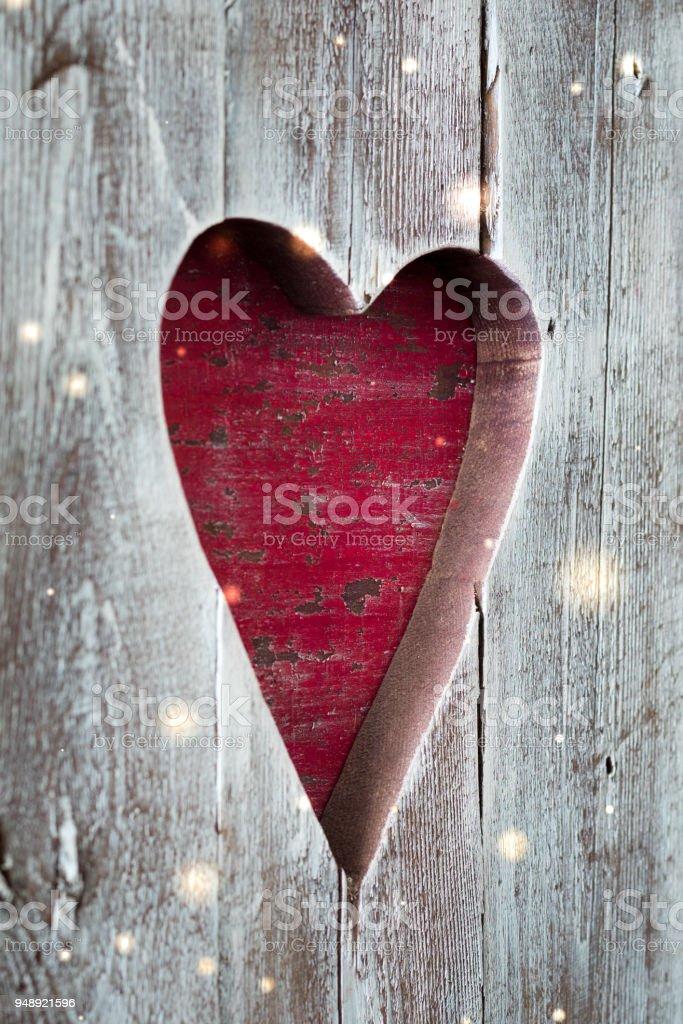 St. Valentine handmade wooden heart panel stock photo