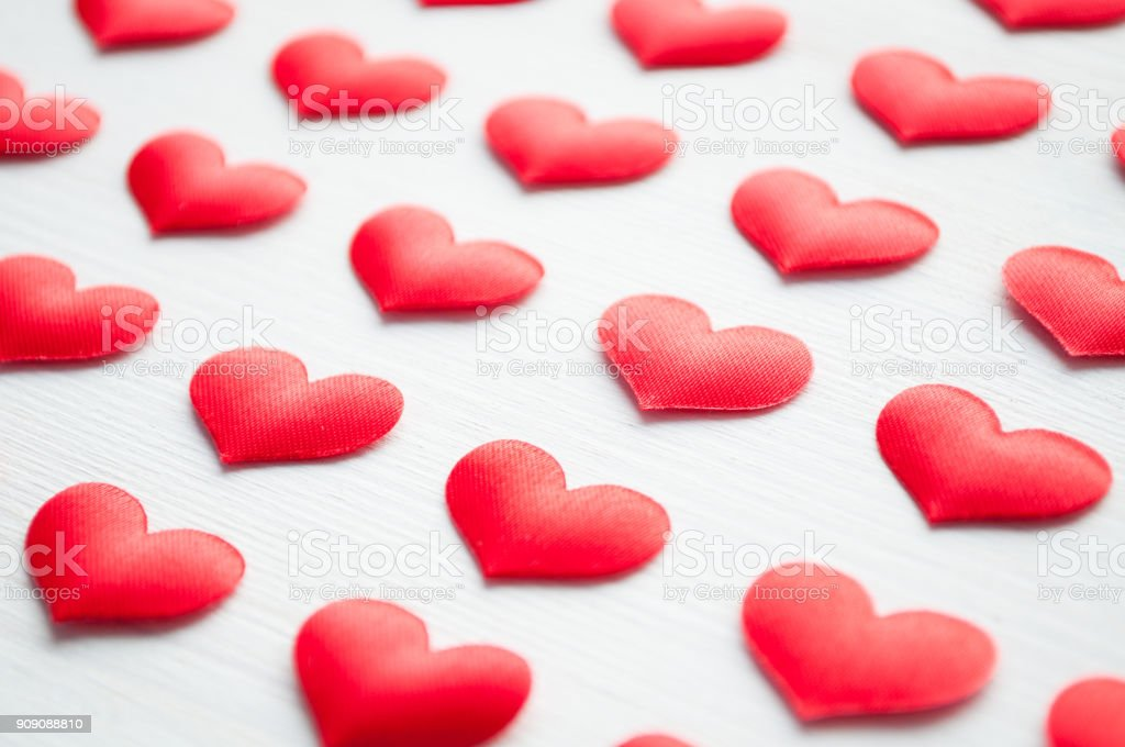 St Valentines day background. Red hearts on the white background stock photo