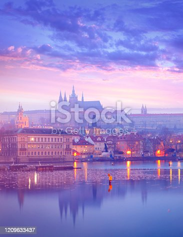 St. Vitus Cathedral, Charles Bridge and Vltava river in Praha by dusk