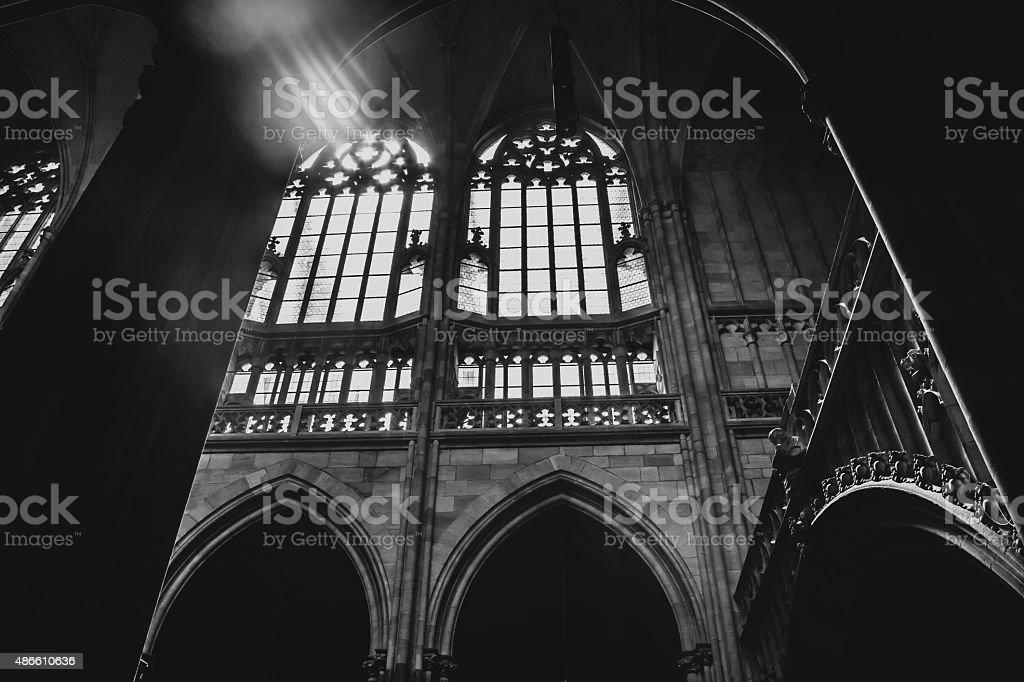 St Vitus Cathedral interior stock photo