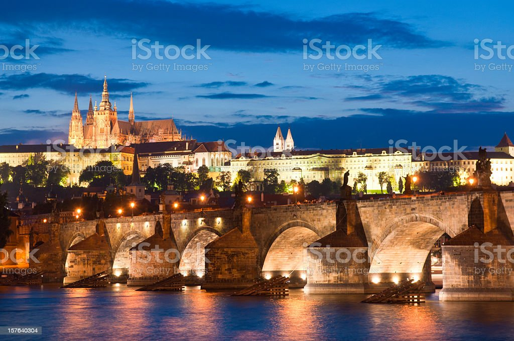 St Vitus Cathedral, Prague Castle and Charles Bridge royalty-free stock photo