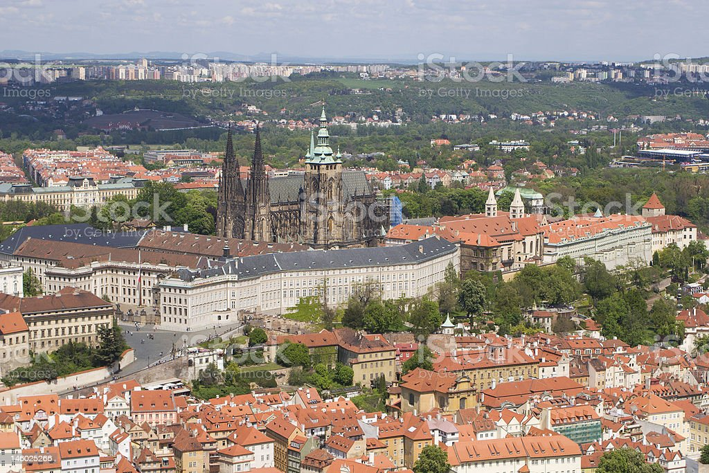 st. vitus cathedrale in prague from outlook-tower stock photo