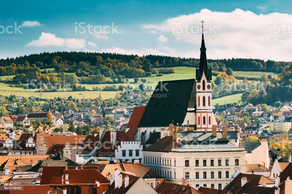 St. Vitus Church and cityscape Cesky Krumlov, Czech republic stock photo