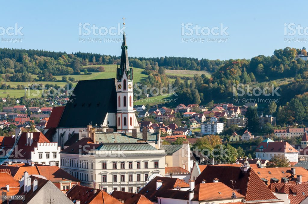 St. Vitus Church in Cesky Krumlov stock photo