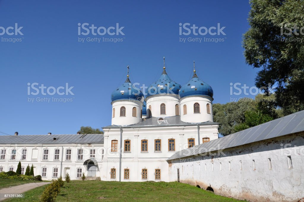 St. Yuriev Monastery of the Russian Orthodox Church in honor of the Great Martyr George, one of the oldest in Russia stock photo