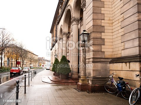 Karlsruhe, Germany - Oct 29, 2017: Side view of Staatliche Kunsthalle Karlsruhe State Art Gallery building on Hans-Thoma-Strasse street on a rainy day