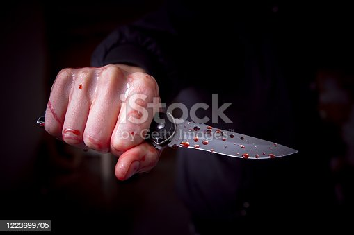 Crime scene and murder by stabbing concept with close up a bloody knife next to a pool of blood with copy space