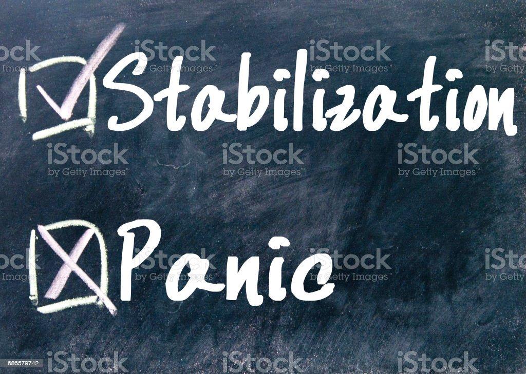 choix de stabilisation ou de panique photo libre de droits