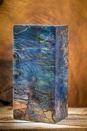 Stabilized Spalted Wood Block For A Knife Handle Stock Photo