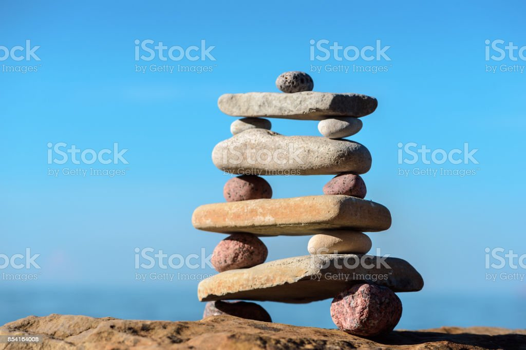 Stable stack of pebbles stock photo