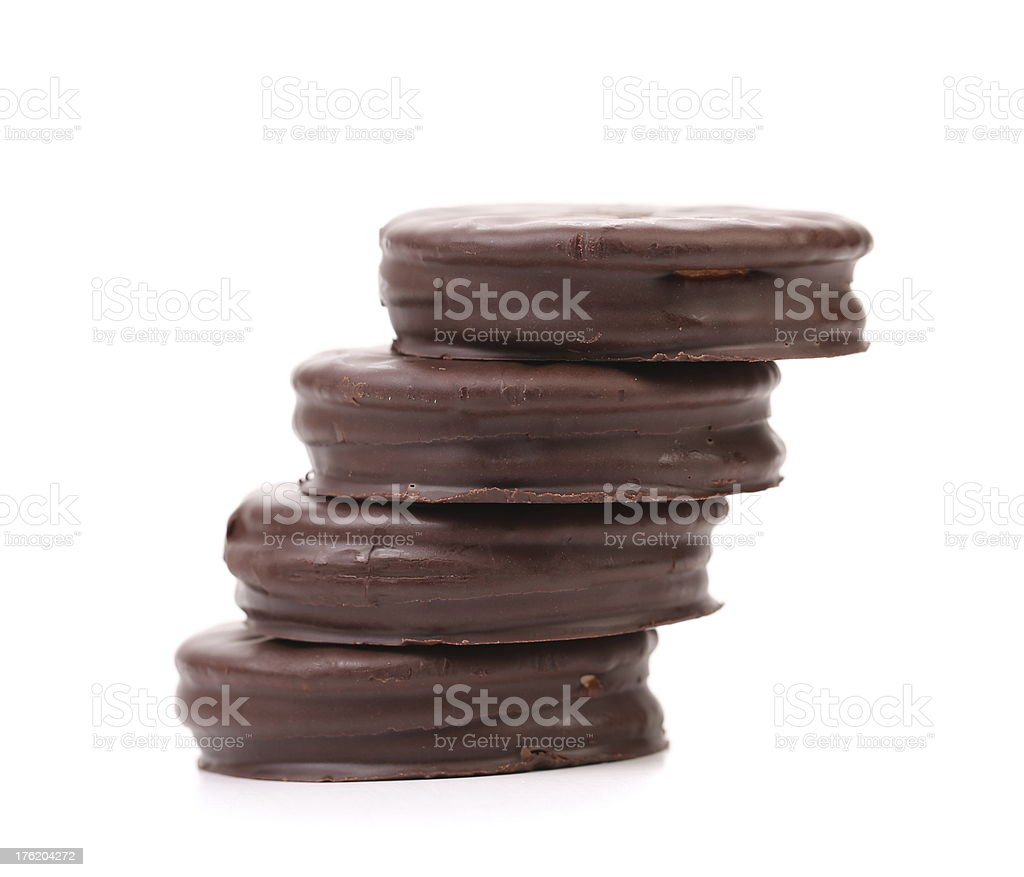 Stack biscuit sandwich with chocolate. royalty-free stock photo