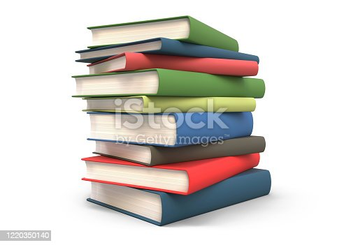 stack of book, isolated on white background, 3d rendering
