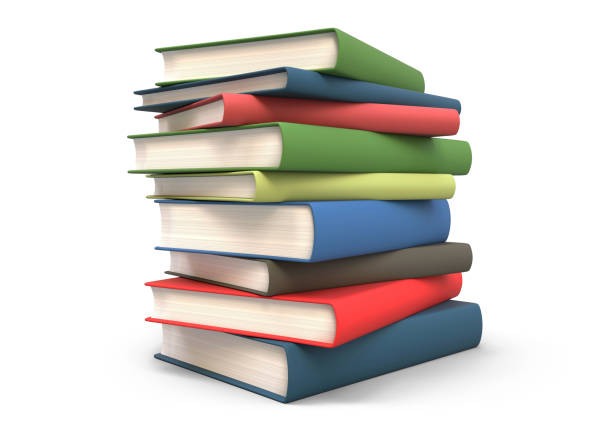 stack books isolated 3d rendering - białe tło zdjęcia i obrazy z banku zdjęć