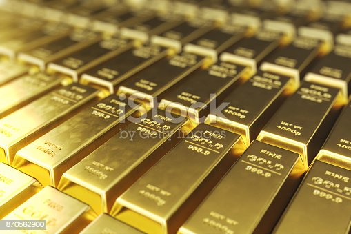 istock Stack close-up Gold Bars, weight of Gold Bars 1000 grams Concept of wealth and reserve. Concept of success in business and finance, 3d rendering 870562900