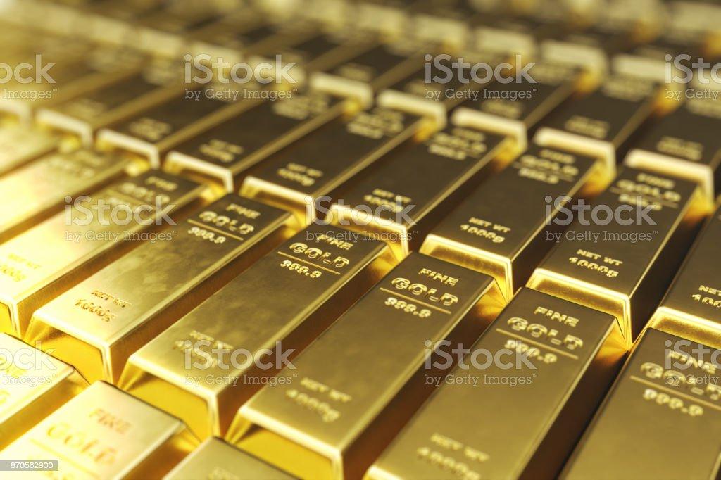 Pilha de close-up barras de ouro, peso de ouro barras 1000 gramas conceito de riqueza e de reserva. Conceito de sucesso em negócios e Finanças, renderização em 3d - foto de acervo