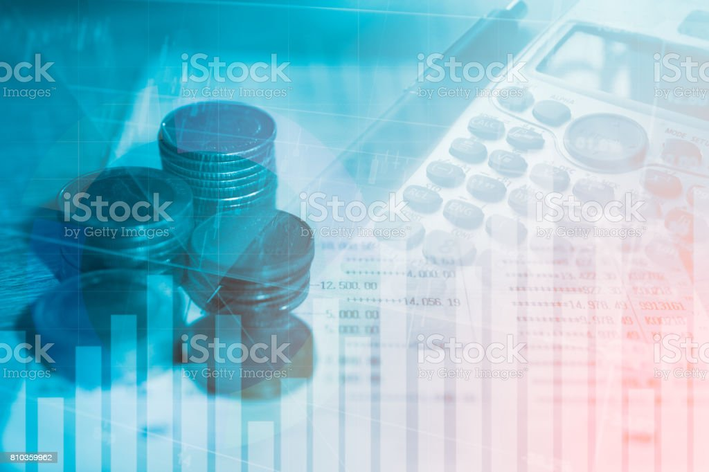 Stack coin money finance and banking with profit graph of stock market trade indicator financial stock photo