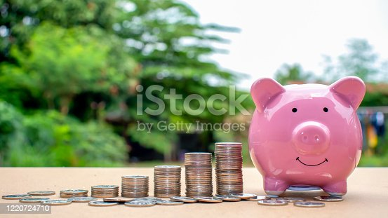 Stack coins that are arranged in ascending order, including piggy bank for saving with a green background blur, ideas for saving money and financial growth.