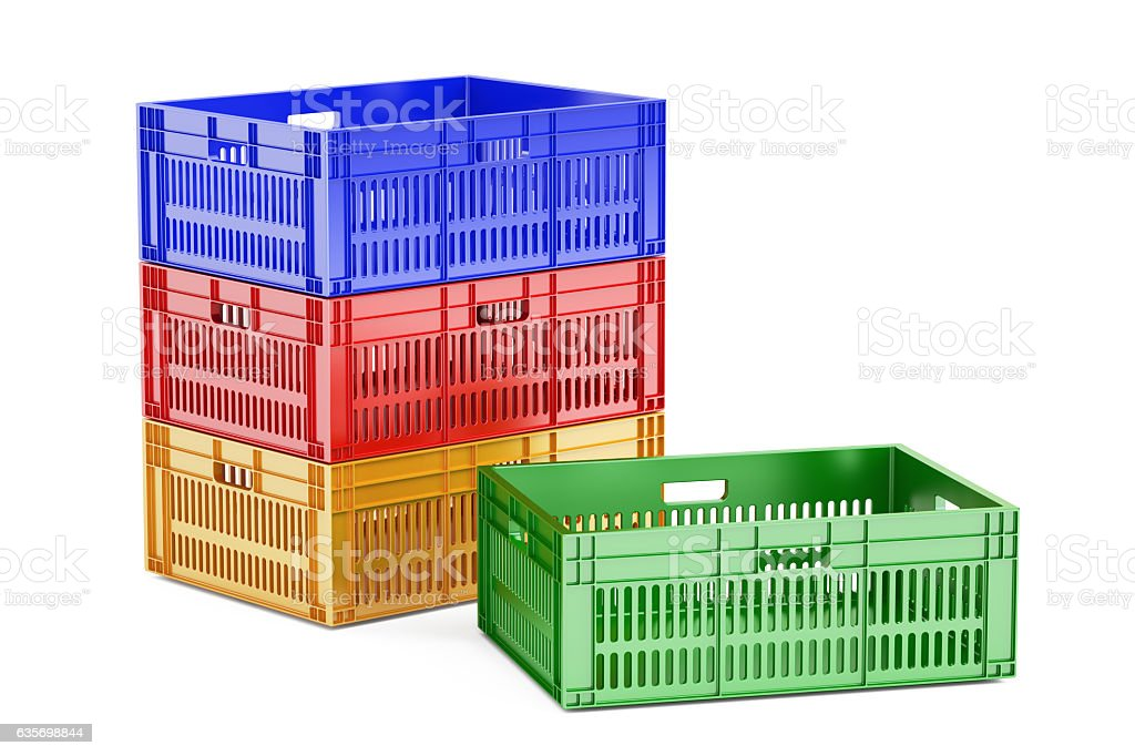 stack colored plastic crates, 3D rendering royalty-free stock photo