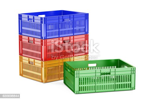 Stack Colored Plastic Crates 3d Rendering Stock Photo & More Pictures of Basket
