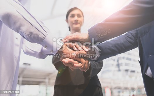 istock Stack hand. Business teamwork join hands support together and dedicated Concept 836248250