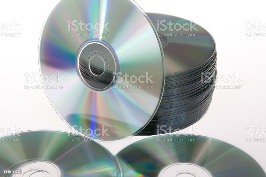 CD stack isolated on a white background stock photo