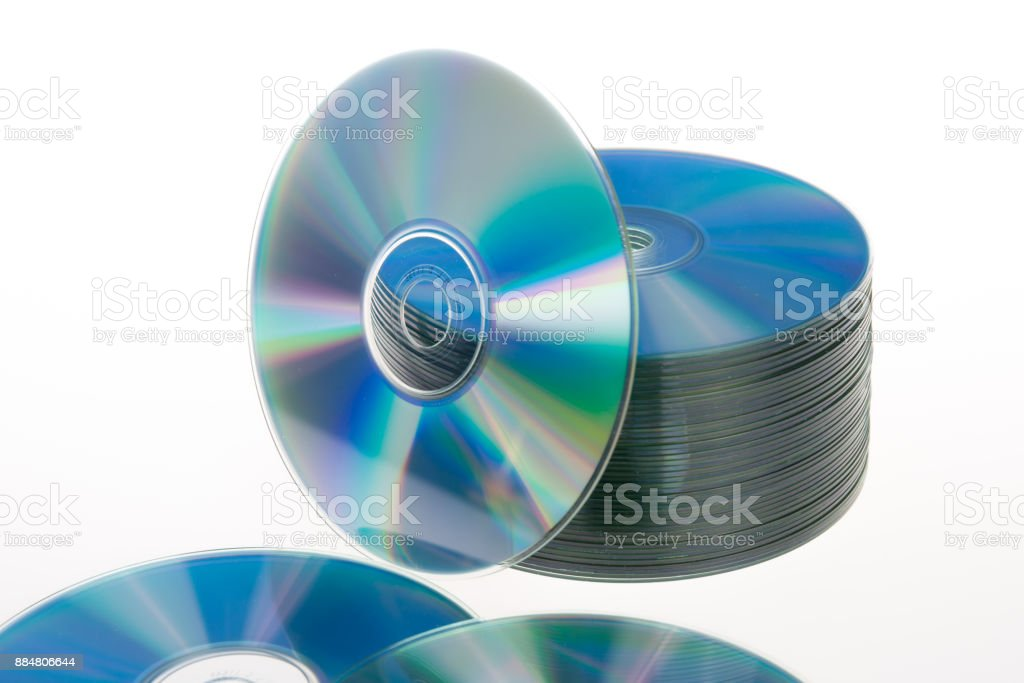 CD DVD - stack isolated on white background stock photo