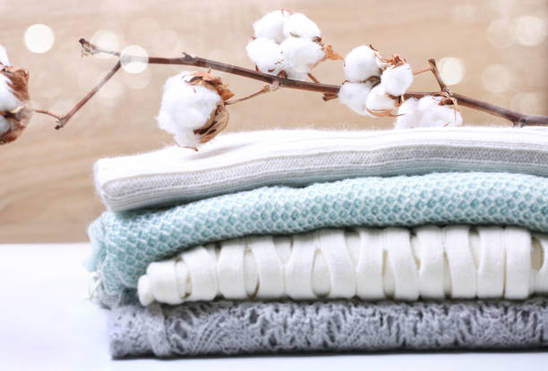 堆疊針織衣服棉花。 - 棉 個照片及圖片檔