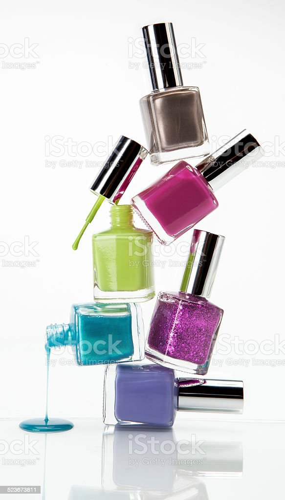 Stack Nail Polish Bottles Stock Photo & More Pictures of Beauty | iStock