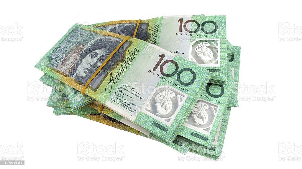 Stack of $100 Australian Dollar Money Notes Legal Tender stock photo