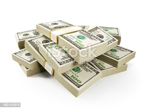 Stack of $100 dollar bills, Isolated on white, 3d render