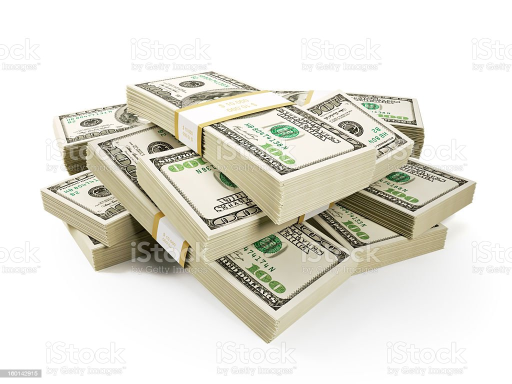 Stack of $100 bills on a white background stock photo