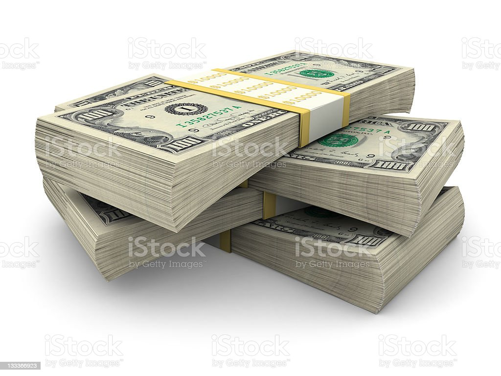 Stack of $100 bills stock photo