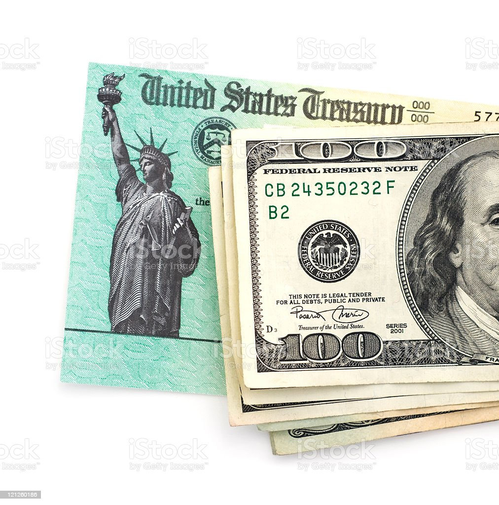 Stack of $100 bills president side up with one back image stock photo