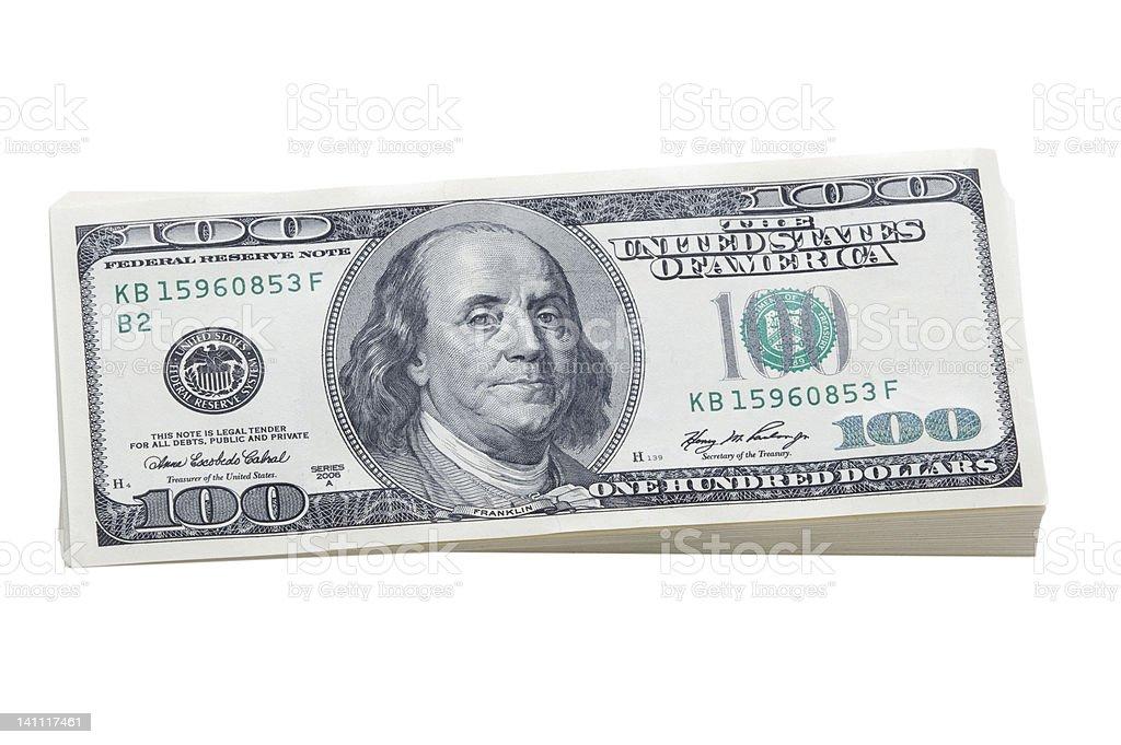 stack of 100 dollar bills stock photo