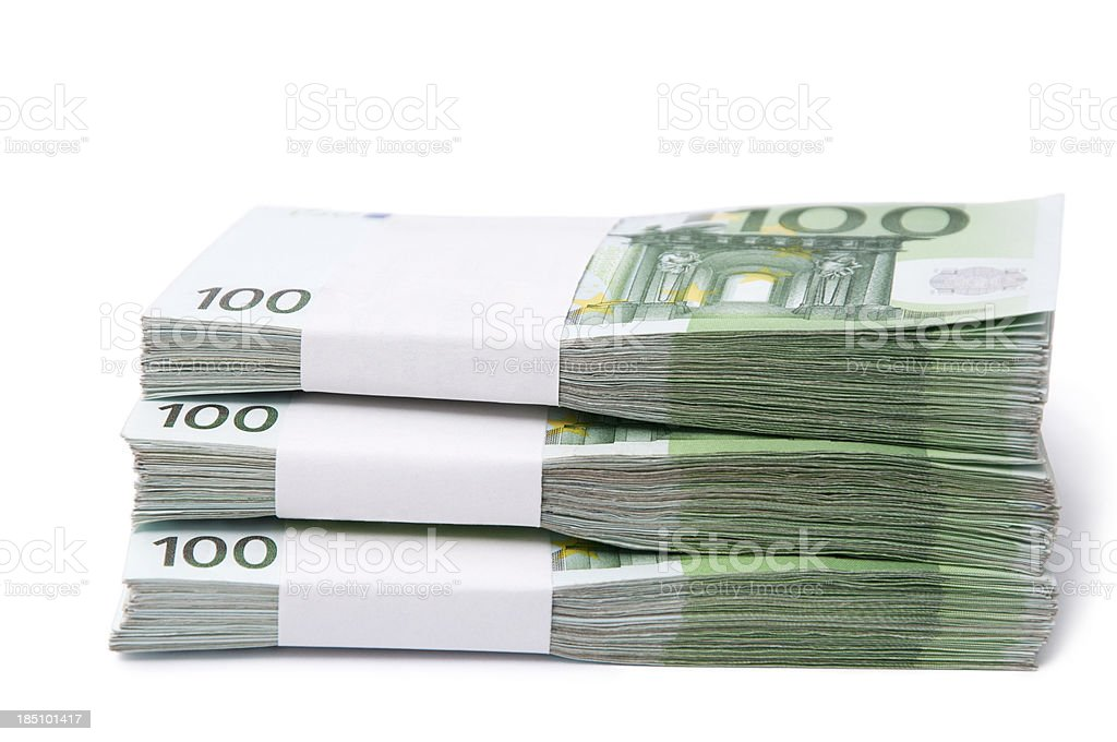 stack of 100 euro banknotes stock photo