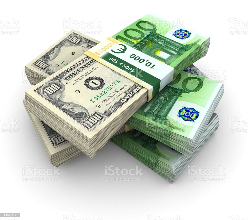 A stack of 100 pound bills on a white background stock photo