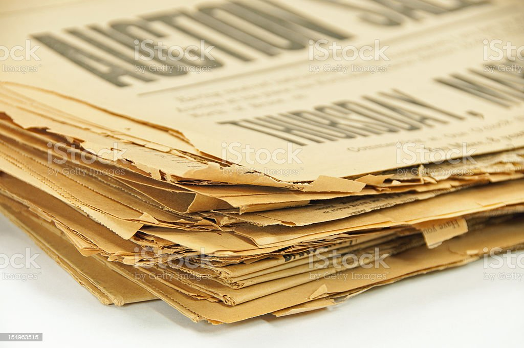 Stack of 1913 Newspapers royalty-free stock photo