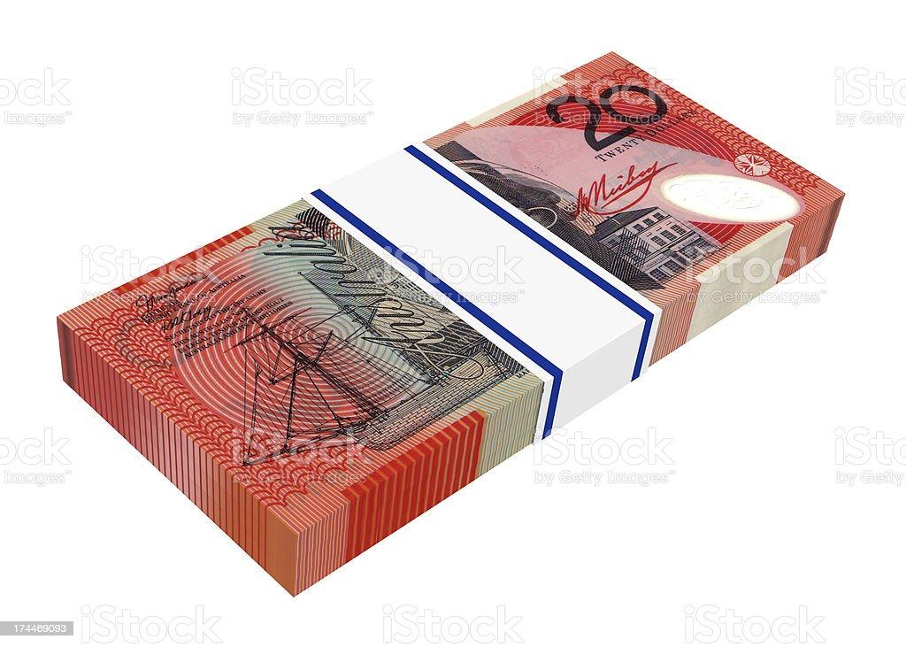 Stack of 20 dollars bills royalty-free stock photo
