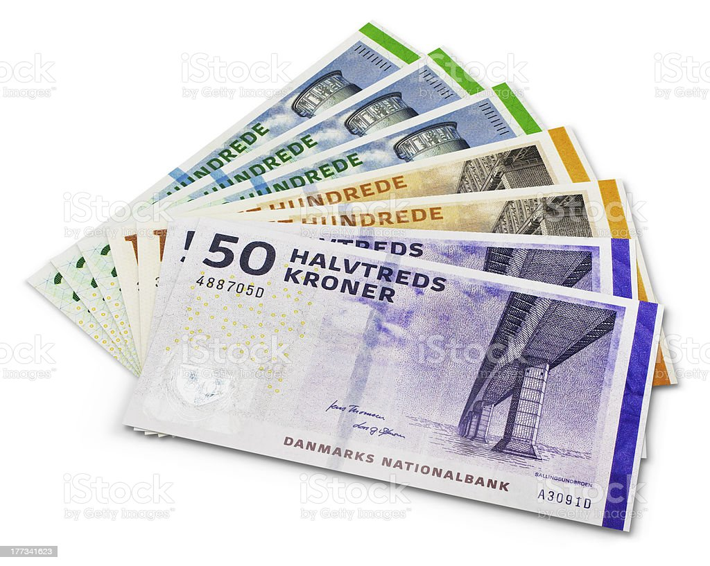 Stack of 200, 100 and 50 danish krone banknotes stock photo