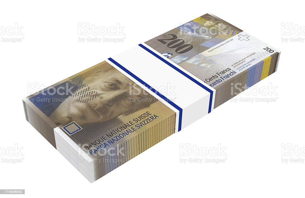 Stack of 200 swiss francs bills royalty-free stock photo