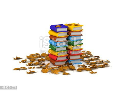 istock Stack of 3D Books and Autumn Leaves 499254576