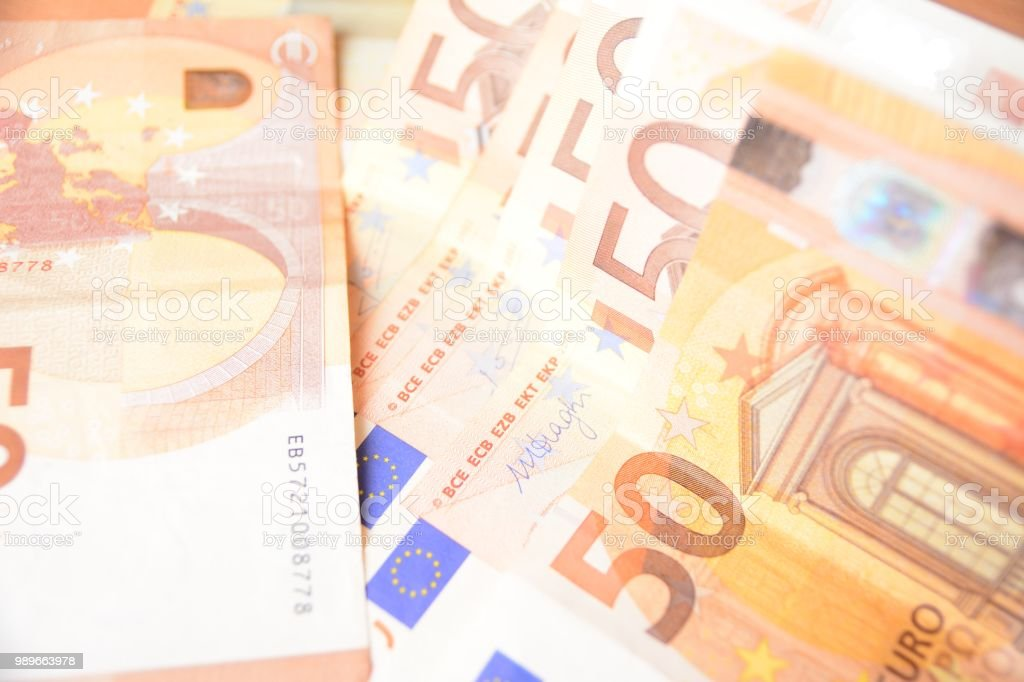 Stack of 50 euro banknotes investment stock photo