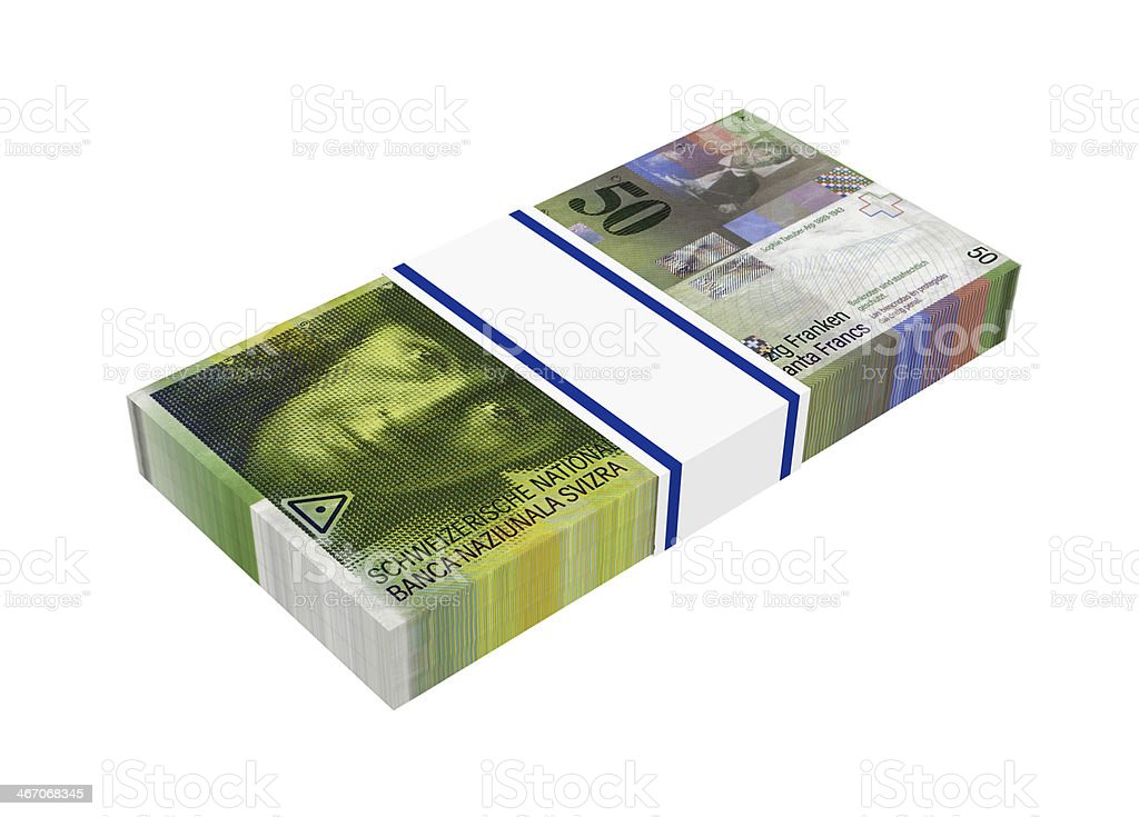 Stack of 50 swiss francs bills royalty-free stock photo