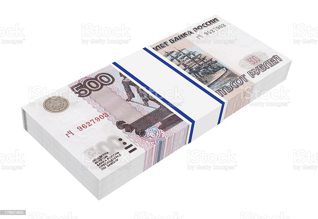 Stack of 500 rubles bills royalty-free stock photo