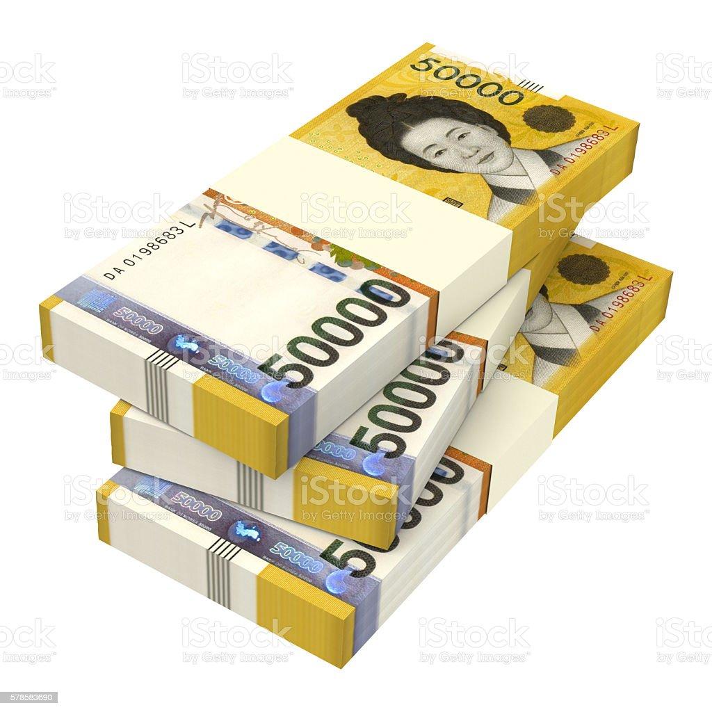 Stack of 50000 won bills isolated on white stock photo